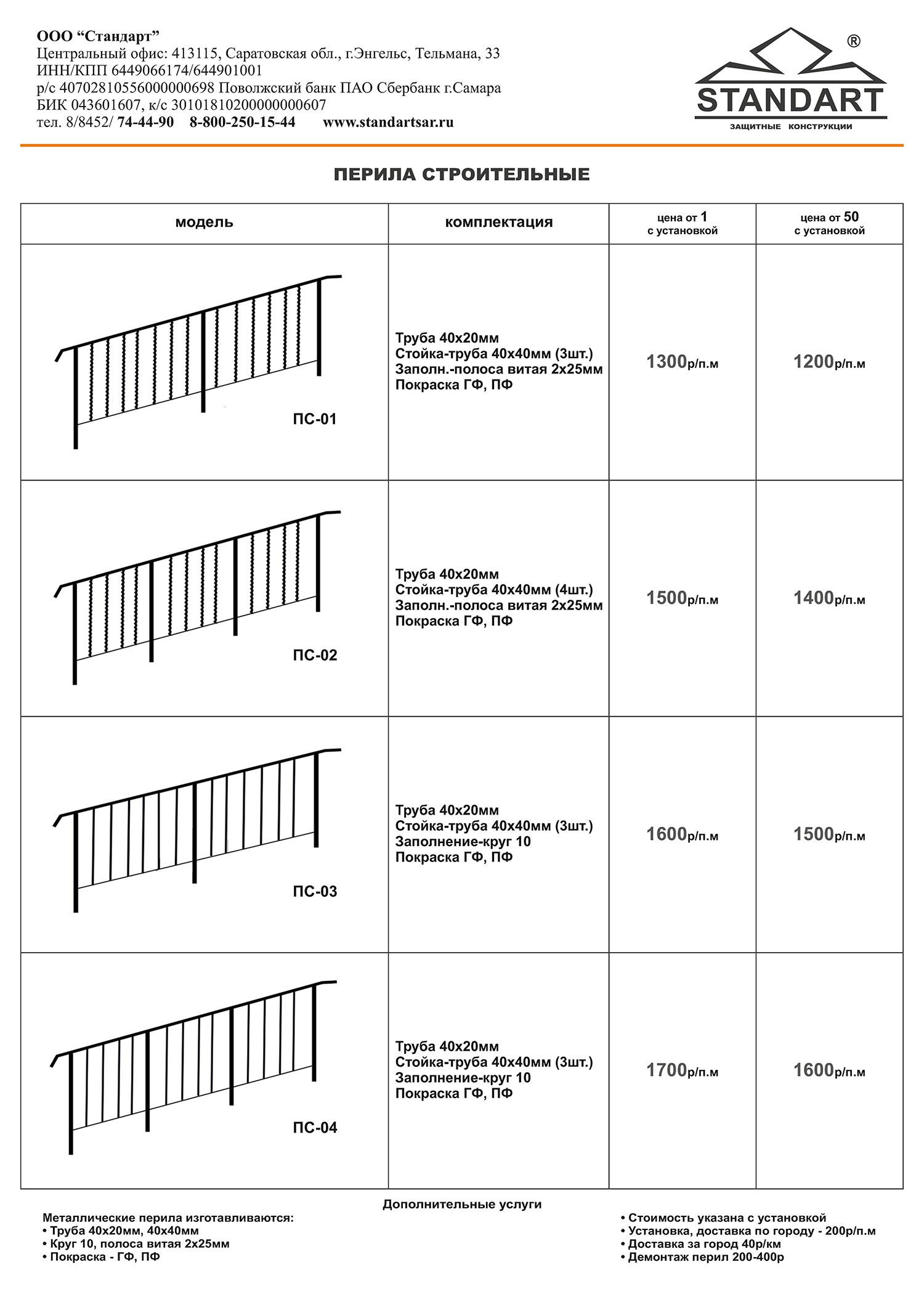 Цены на перила строительные