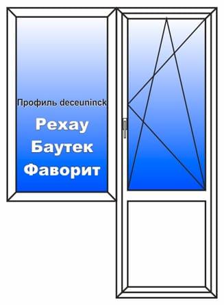 Пластиковое окно 1400x2150 мм