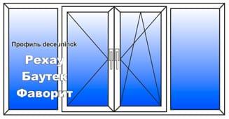 Пластиковое окно 1500x3000 мм
