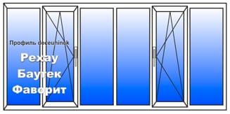 Пластиковое окно 1500x6000 мм